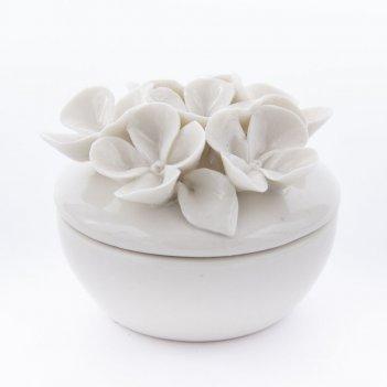 "Шкатулка ""цветы"", фарфор 7*6см"