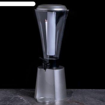Башня пивная 3 л металлик колба с подсветкой, 2 батарейки, 25х21х55 см