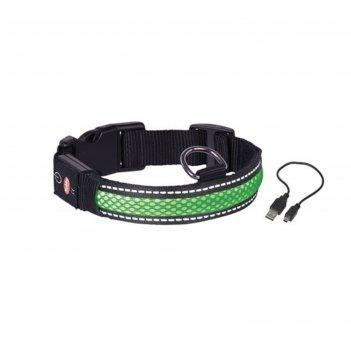 Ошейник nobby для собак, светодиодный/аккум., m/36-51см, зеленый
