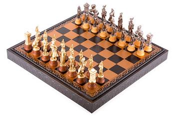 Шахматы 48х48 napoleon (8-10см) от italfama (дерево, кожа, бронза, олово)