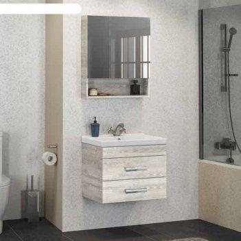 Зеркало-шкаф comforty «никосия-60» дуб белый