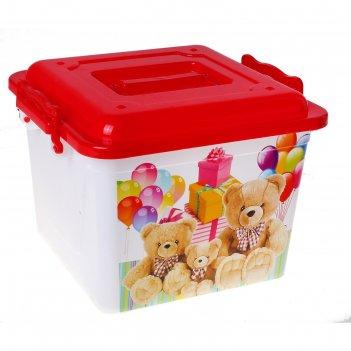Ящик для игрушек 8,5 л мишки с крышкой, цвет красный