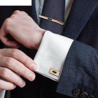 Набор мужской стальной запонки + зажим для галстука пряжка, цвет чёрный в