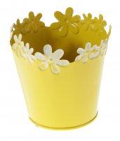 Кашпо оцинкованное цветочный край 10*10 см, желтое