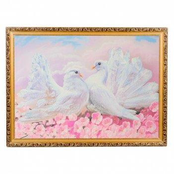 Картина влюбленные голуби багет №7 (50х70 см) к762