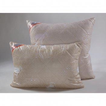 Подушка стёганная 50*70, пм/57эк, шерсть мериноса, ткань глосс-сатин, п/э