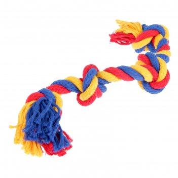 Игрушка канатная веревка зооник, ф 16, 4 узла, 42-44 см