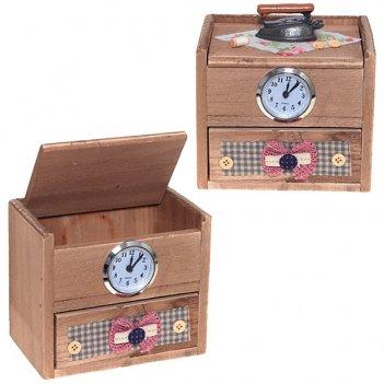 Шкатулка с композицией время, l15 w11 h14 см