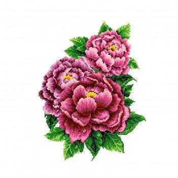 Набор счетным крестом «розовые пионы»