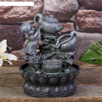 Фонтан настольный маленький будда с чайником 25х19,5х19,5 см