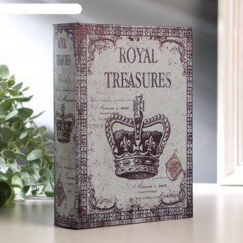 Шкатулка-книга дерево корона монарха кожзам 20х15х4 см