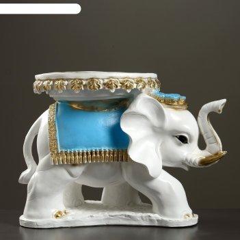 Фигура-подставка слон звезда бело золотой  с голубым