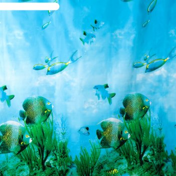 Штора для ванной комнаты доляна «рыбки», 180x180 см, eva