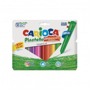 Мелки пластиковые 12 цветов carioca plastello 115/8 мм круглые в конверте