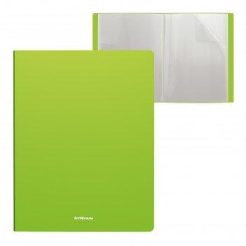 Папка 40 прозр вкладышей а4 пластик erichkrause neon зеленая 46989