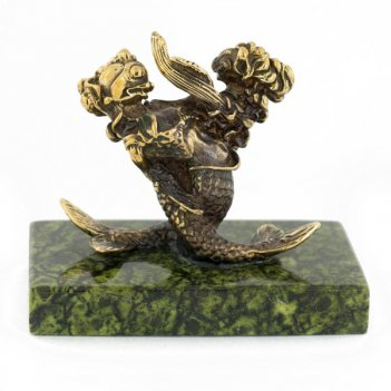 Статуэтка знак зодиака рыбы бронза змеевик