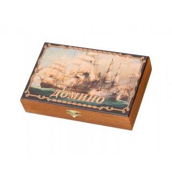 Домино в деревянной шкатулке морское сражение