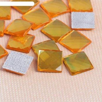 Стразы термоклеевые квадрат, 50шт, 8 х 8мм, цвет жёлтый