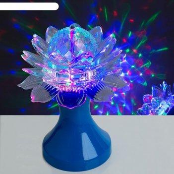 Световой прибор хрустальный шар цветок диаметр 12,5 см, 220 в, синий