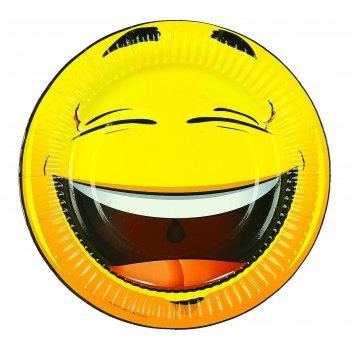 Тарелка с ламинацией смеющийся смайл 18 см