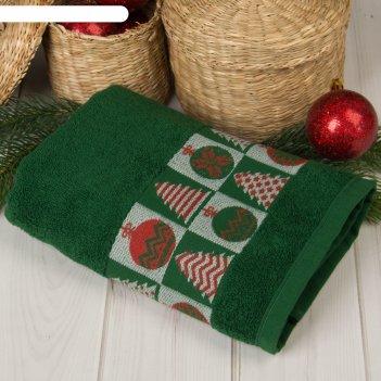 Полотенце махровое collorista новогодние игрушки 50х90 см 100% хлопок, 370