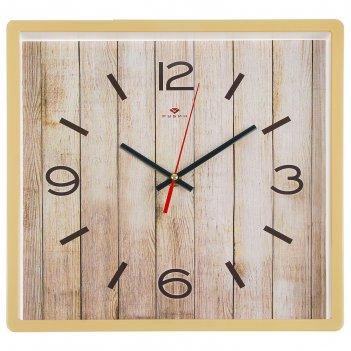 Часы настенные квадратные дерево, 30х30 см, обод бежевый