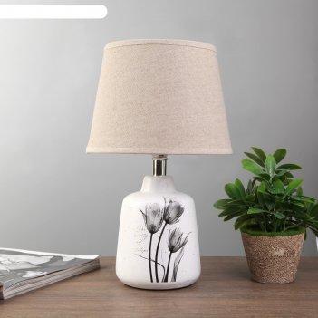 Лампа настольная цветы 1xe14 40вт белый 20х20х31 см.
