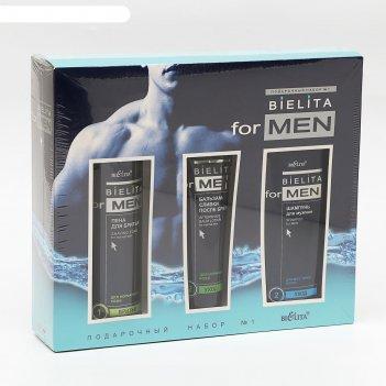 Подарочный набор bielita for men шампунь,бальзам-сливки п/бритья,пена д/бр