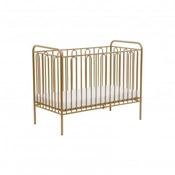 Детская кроватка polini kids vintage 110 металлическая, цвет золотистый