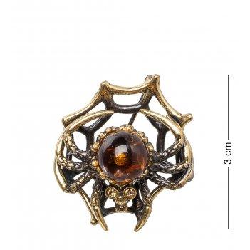 Am- 936 брошь паук на паутине (латунь, янтарь)