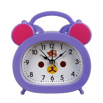 Ретро-будильник мишка, овал, на циферблате мордочка, микс цветов, 12,5*10,