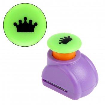 Дырокол фигурный кнопка корона d=1,5 см, микс