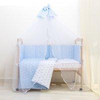 Комплект в кроватку 7 пр. ноченька (борт из 4-х частей), цвет голубой, бяз
