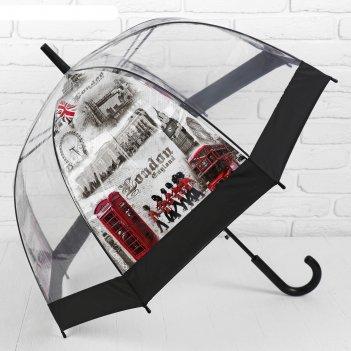 Зонт полуавтоматический «лондон», 8 спиц, r = 40 см, цвет чёрный/серый/кра