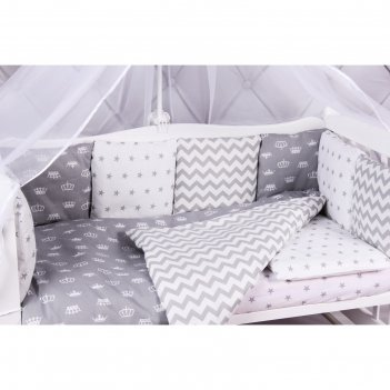 Комплект в кроватку royal baby серый, 15 предметов, бязь