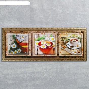 Часы-картина настенные ромашковый чай, 35х100 см