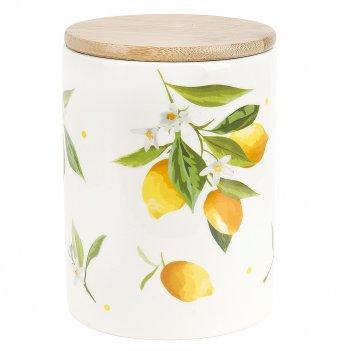 Банка для сыпучих продуктов (с бамбуковой крышкой) лимоны d=10см. h=15см.