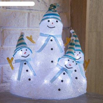 Фигура акрил. семья озорных снеговиков 28х26х20 см, 30 led, 220v белый