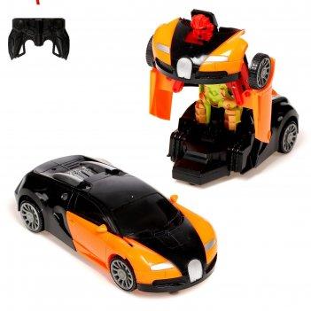 Робот радиоуправляемый спорткар, трансформируется, работает от батареек, ц