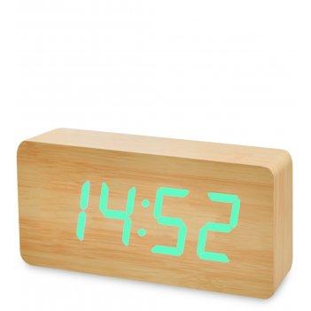 Ял-07-03/ 9 часы электронные бол. (жёлтое дерево с зелёной подсветкой)