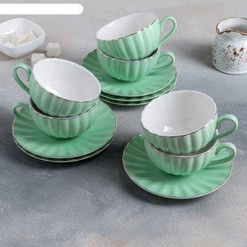 Чайный сервиз вивьен 6 чашек 200 мл, 6 блюдец d-15 см, цвет зеленый