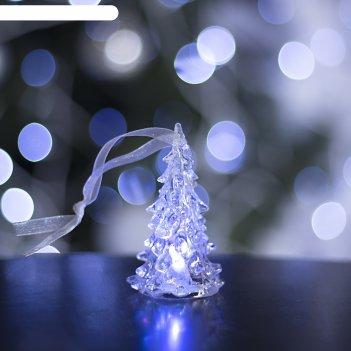 Игрушка световая елочка прозрачная (батарейки в комплекте) 8 см, 1 led, rg