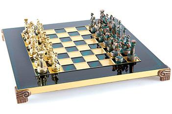 Шахматы подарочные металлические 28х28 греко-романский период manopoulos