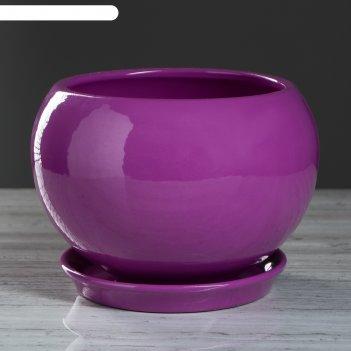 Цветочный горшок 2л шар премиум фиолетовый