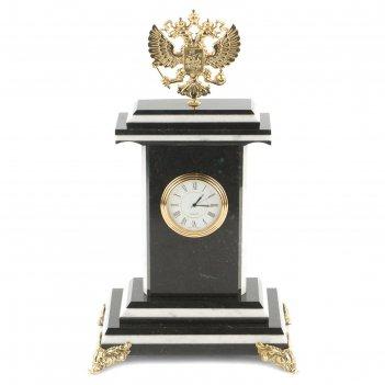 Часы герб змеевик бронза 175х125х295 мм 3000 гр.