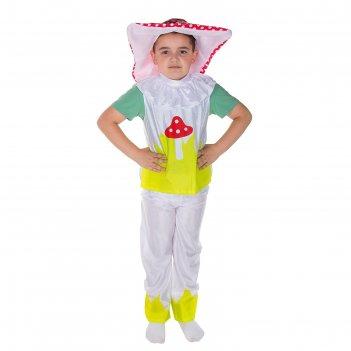 Карнавальный костюм мухомор, 3 предмета: шляпа, рубаха, штаны, размер m 12
