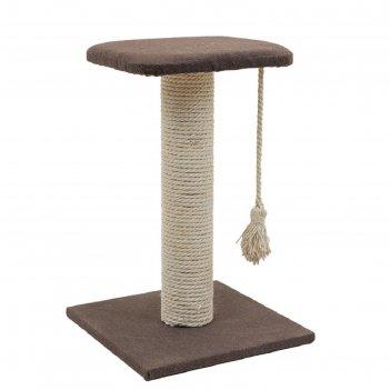 Когтеточка-столбик с полкой кантри, 37 х 37 х 49 см, рогожка, джут белёный