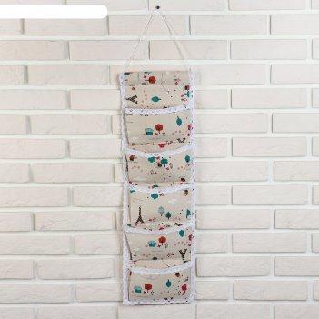 Органайзер с карманами подвесной 68x19 см париж, 5 отделений, цвет бежевый