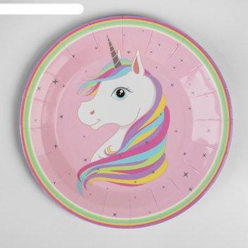 Тарелка бумажная единорог на розовом набор 6 шт