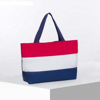 Сумка пляжная на молнии bagamas, 1 отдел, цвет синий/белый/красный